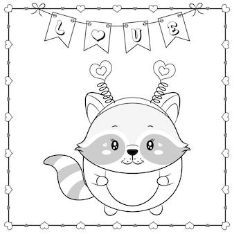 Gelukkige valentijnsdag schattige dieren baby wasbeer tekening schets om in te kleuren met harten frame en liefde banner