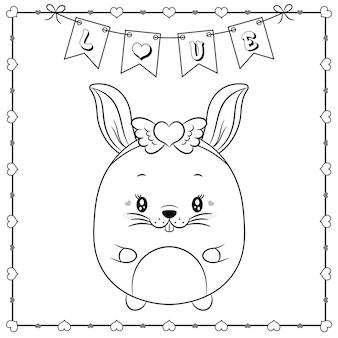 Gelukkige valentijnsdag schattige dieren konijn tekening schets om in te kleuren met harten frame en liefde banner