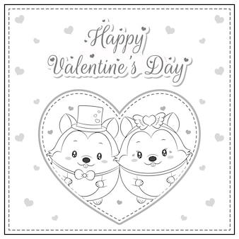 Gelukkige valentijnsdag schattige eekhoorn tekening in groot hart schets om in te kleuren