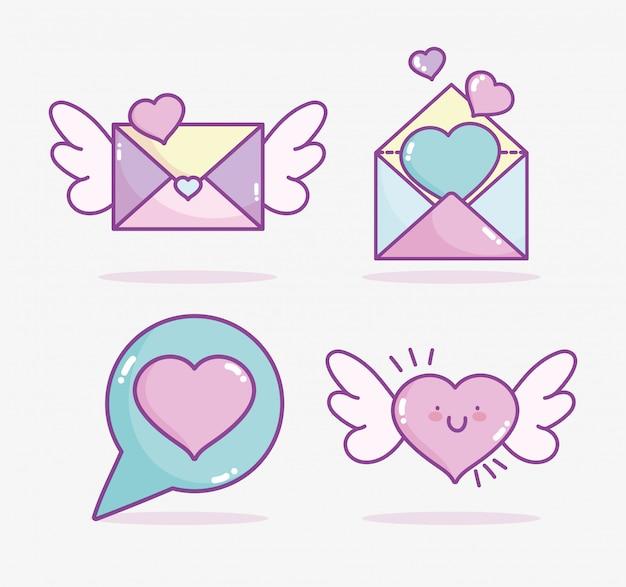 Gelukkige valentijnsdag, schattige mail hart vleugels bericht brief romantisch