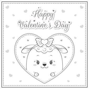 Gelukkige valentijnsdag schattige schapen tekening in groot hart schets om in te kleuren