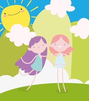 Gelukkige valentijnsdag, schattige vrouwelijke cupids cartoon landschap