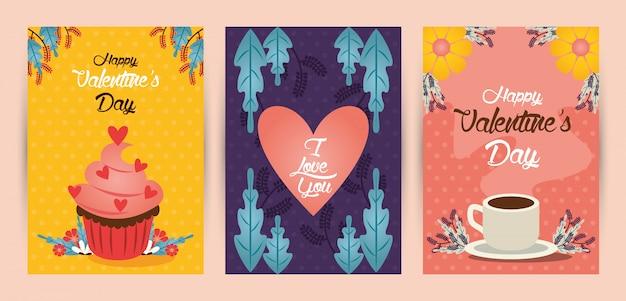 Gelukkige valentijnsdag set kaarten illustratie