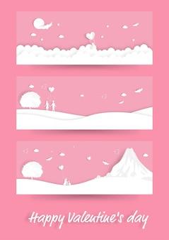 Gelukkige valentijnsdag, set van illustratie scène met verliefde paar