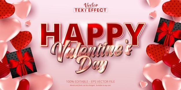 Gelukkige valentijnsdag tekst, glanzend rose goud kleurstijl bewerkbaar teksteffect