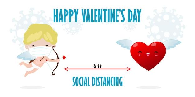 Gelukkige valentijnsdag voor covid 19 en sociale afstand nemen infographic nieuwe normale levensstijl