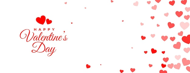 Gelukkige valentijnsdag witte banner met liefdeharten