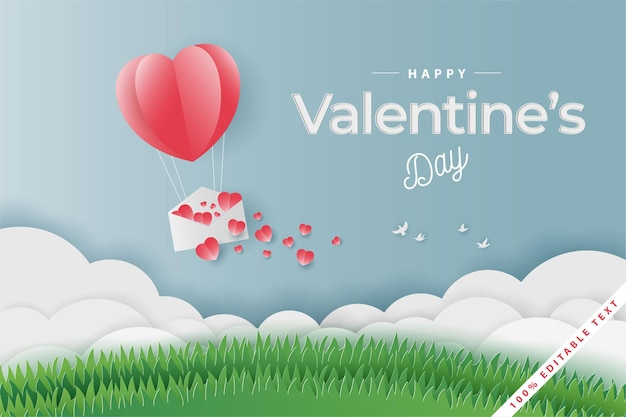 Gelukkige valentijnsdagballon, liefdesbrief en veldgras, papierstijl
