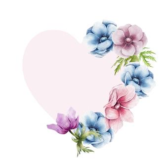 Gelukkige valentijnskaart bloemengrens