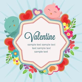Gelukkige valentijnskaart met liefde en vogelpaar