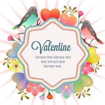 Gelukkige valentijnskaart met paarvogel en bloem