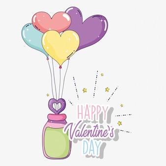 Gelukkige valentijnskaartdag met hartenballons
