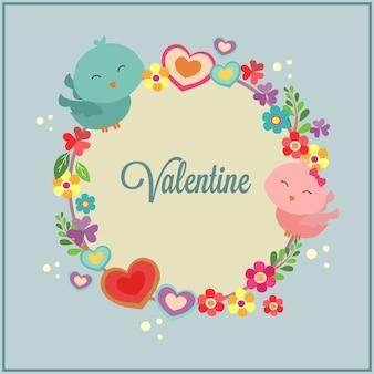 Gelukkige valentijnskaartendag met de decoratie van het vogelpaar