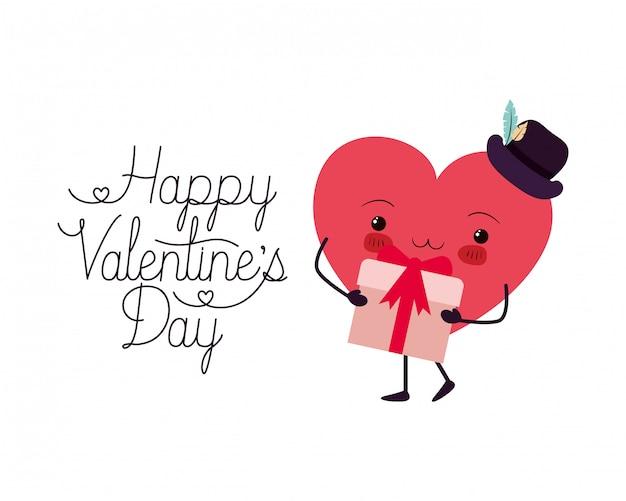 Gelukkige valentijnskaartendag met hartliefde kawaii