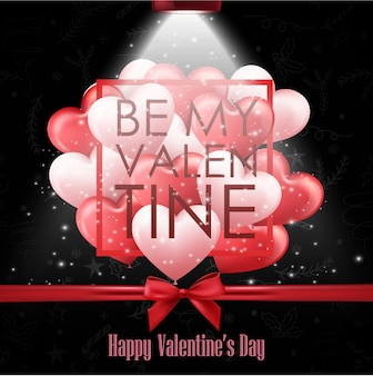 Gelukkige valentijnskaartendag met zwarte achtergrond