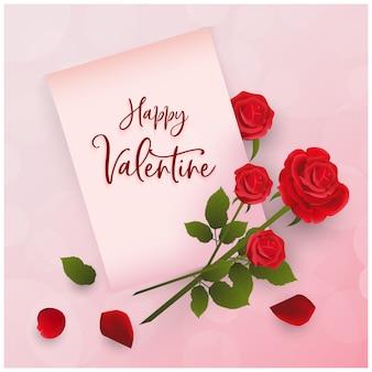 Gelukkige valentine-groet met rozendecoratie