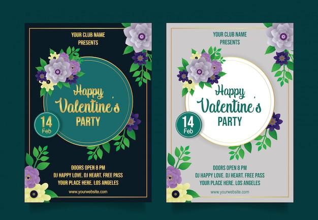 Gelukkige valentines partij flyer sjabloon