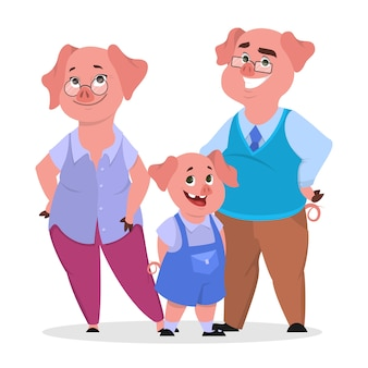 Gelukkige varkensfamilie in kleding. moeder, vader en kind