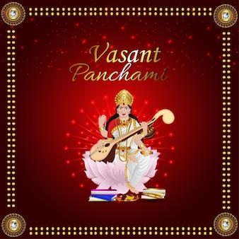 Gelukkige vasant panchami met illustratie van de godin saraswati