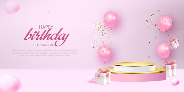 Gelukkige verjaardag 3d-banner met geschenkdoos, confetti en podium