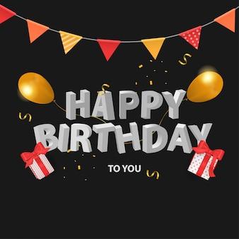 Gelukkige verjaardag 3d-tekst, geschenkdoos en ballon op zwarte achtergrond