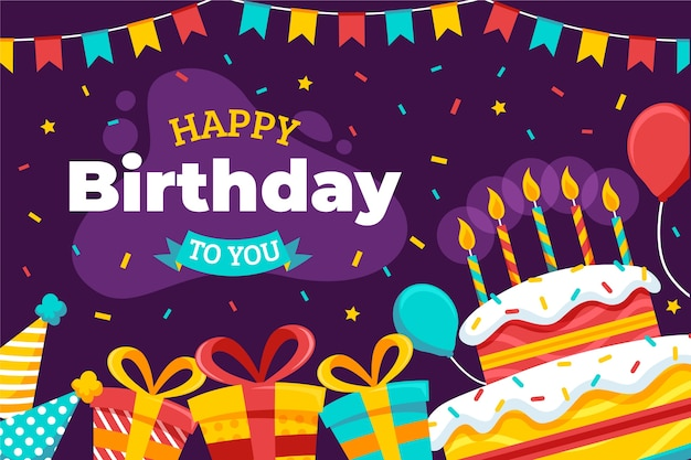 Gelukkige verjaardag aan je platte ontwerp met cake en kaarsen