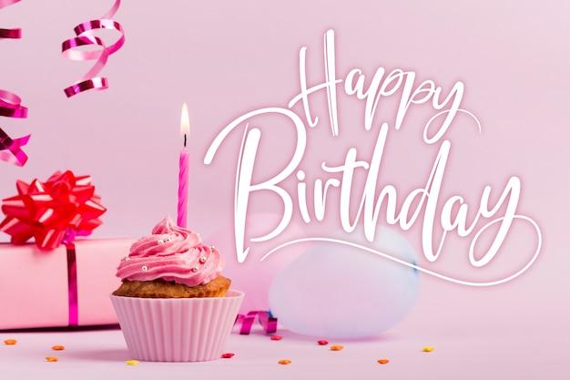 Gelukkige verjaardag aan u belettering met cupcake