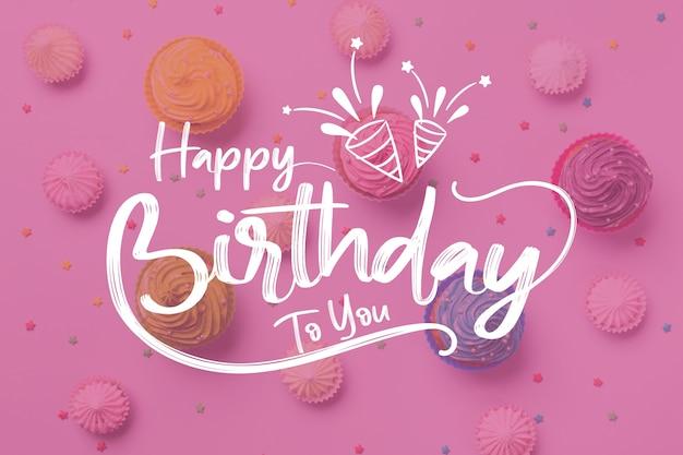 Gelukkige verjaardag aan u belettering met feestmutsen