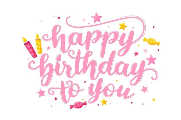Gelukkige verjaardag aan u belettering met snoepjes