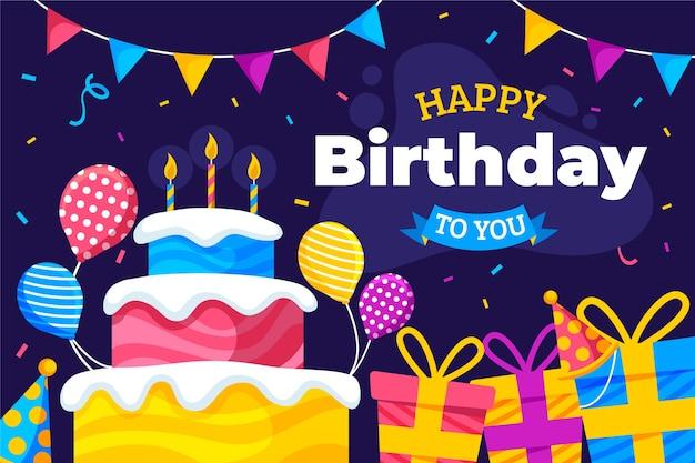 Gelukkige verjaardag aan u plat ontwerp met cake en geschenken