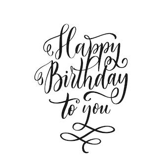 Gelukkige verjaardag aan u. wenskaart gekraste kalligrafie zwarte tekst. hand getrokken uitnodiging, t-shirt print ontwerp. handgeschreven moderne borstel belettering.