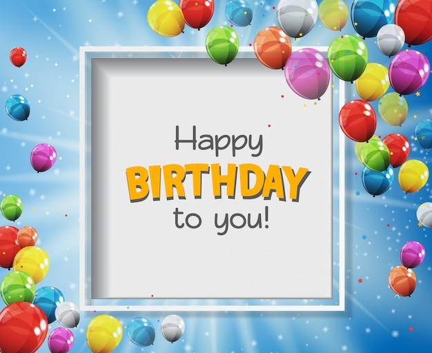Gelukkige verjaardag aan u wenskaart met kleur glanzende ballonnen