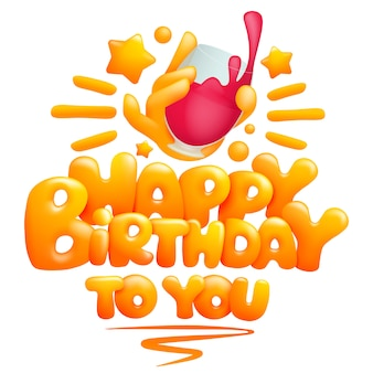 Gelukkige verjaardag aan u wenskaartsjabloon met emoji hand met glas wijn. cartoon 3d-stijl