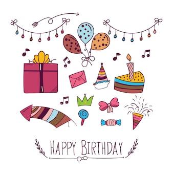 Gelukkige verjaardag achtergrond in doodle stijl