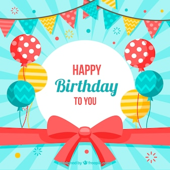 Gelukkige verjaardag achtergrond met ballonnen en boog