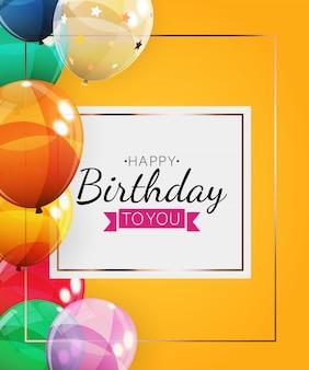 Gelukkige verjaardag achtergrond met ballonnen. illustratie