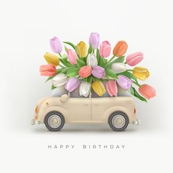 Gelukkige verjaardag achtergrond met bloemen en auto