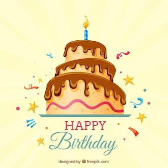 Gelukkige verjaardag achtergrond met cake