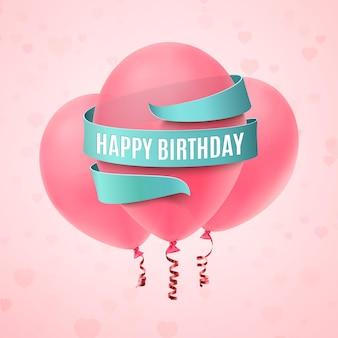 Gelukkige verjaardag achtergrond met drie roze ballonnen, blauw lint en harten.