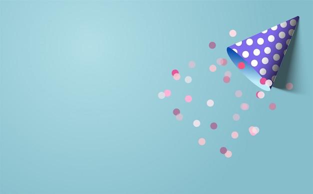 Gelukkige verjaardag achtergrond met een illustratie van een blauwe verjaardag hoed op blauwe zee
