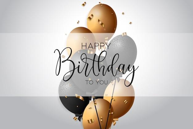 Gelukkige verjaardag achtergrond met een witte en gouden realistische ballonnen vector
