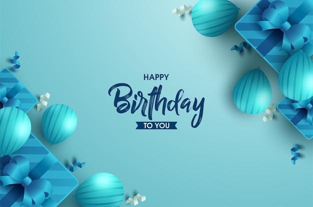 Gelukkige verjaardag achtergrond met geschenkdozen en ballonnen