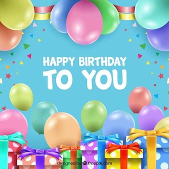Gelukkige verjaardag achtergrond met geschenken en ballonnen