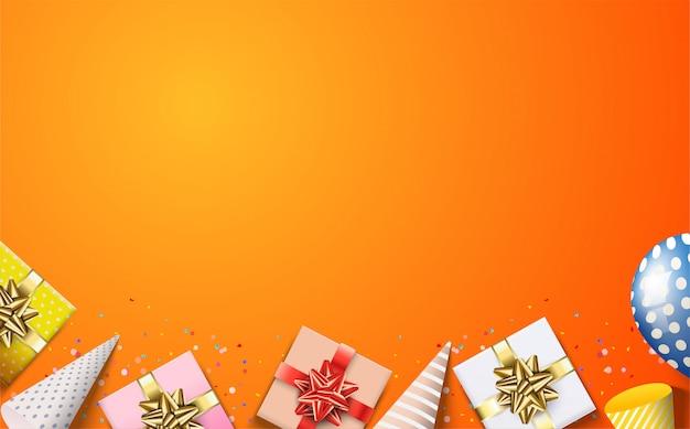 Gelukkige verjaardag achtergrond met illustraties van verschillende soorten 3d-ballonnen