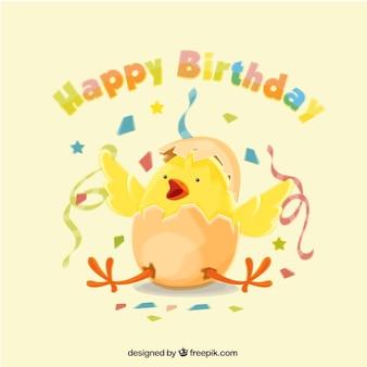 Gelukkige verjaardag achtergrond met kuiken en confetti