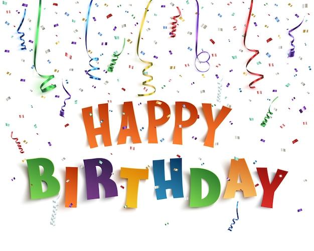 Gelukkige verjaardag achtergrond met linten en confetti op wit.