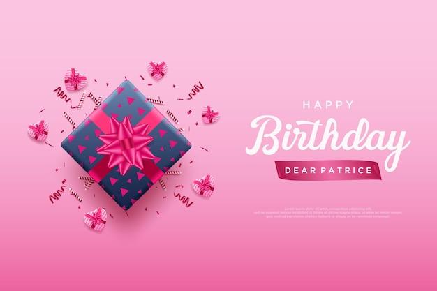 Gelukkige verjaardag achtergrond met roze lint geschenkdoos