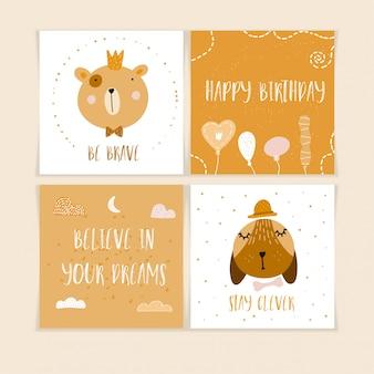 Gelukkige verjaardag ansichtkaarten met schattige dieren