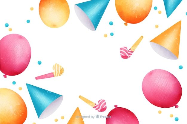 Gelukkige verjaardag aquarel met feestmutsen
