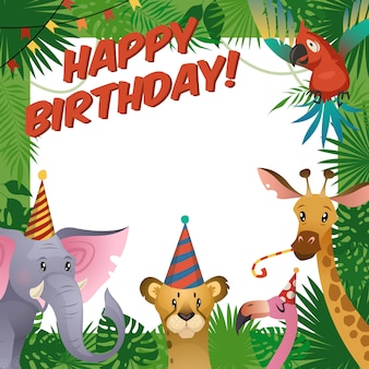 Gelukkige verjaardag babydouche groet tropische dierentuin vieren kinderen uitnodiging sjabloon